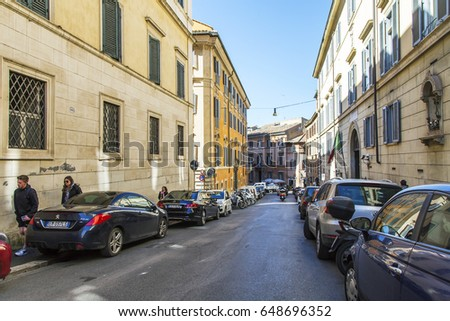 ROME, ITALY, on March 5, 2017. City landscape. Beautiful buildings make an attractive architectural complex of the street in downtown.