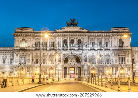 Rome, Italy. Palace of Justice or Palazzo di Giustizia, Supreme Court of Cassation and the Judicial Public Library - courthouse building shot at dusk. - stock photo