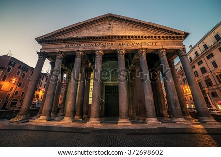 "Rome, Italy: Pantheon. Text on fronton in Latin ""Marcus Agrippa, son of Lucius, in his third consulate, made it."" - stock photo"