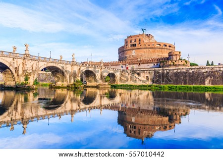Rome, Italy. Saint Angelo castle and bridge over the Tiber river.