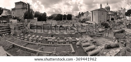 ROME. ITALY. SEPTEMBER 12 2014 Ancient Ruins of Rome - Imperial Forum ROME. ITALY. SEPTEMBER 12 2014 - stock photo