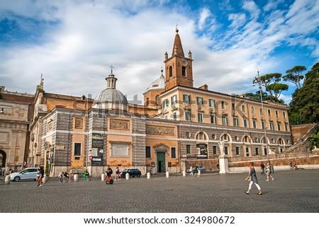 ROME, ITALY - SEPTEMBER 04, 2015: Building of Leonardo da Vinci Museum at the famous Basilica Santa Maria in Piazza del Popolo in Rome, Italy, September 04, 2015. - stock photo