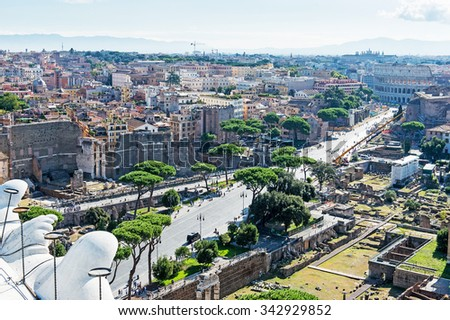 ROME, ITALY - September 15, 2015 - view of panorama Rome, Italy, skyline from Vittorio Emanuele, Piazza Venezia