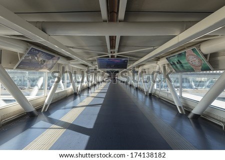 ROME, ITALY - SEPTEMBER 27 : View of Rome Fiumicino Leonardo da Vinci International Airport Bridge on September 27, 2013 in Rome Italy.