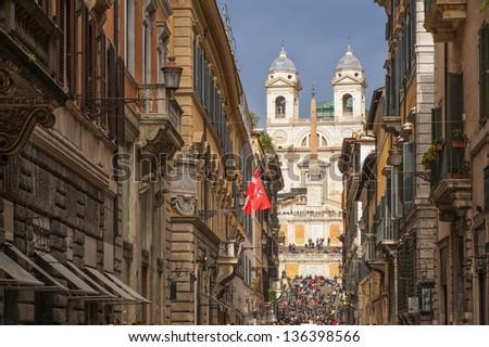 Rome, Italy, Spanish steps and narrow street - stock photo