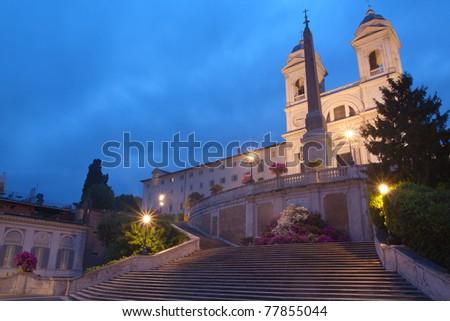 Rome, Italy - Spanish Steps and Trinità dei Monti at twilight - stock photo