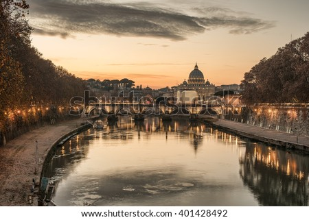 Rome, Italy: St. Peter's Basilica, Saint Angelo Bridge - stock photo