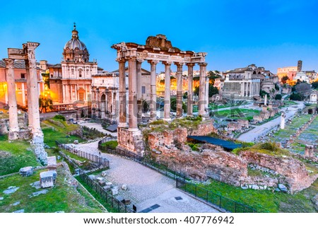 Rome, Italy. Stunning twilight view of Roman Forum ancient ruins, seen from Capitoline hill with Colosseum. - stock photo