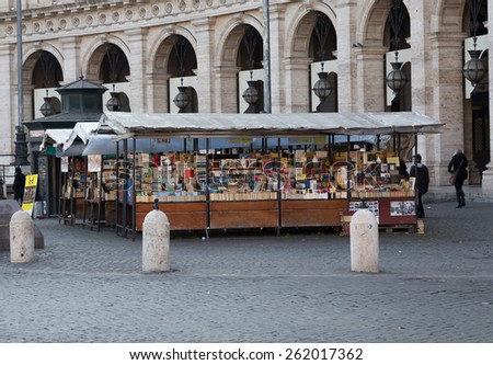 ROME, ITALY - 11TH MARCH 2015:  A market stall outside selling books during the day - stock photo