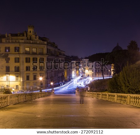 ROME, ITALY - 11TH MARCH 2015: A view of streets in Rome from Capitoline Hill. The blur of people and traffic can be seen.