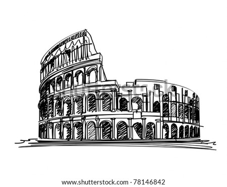 ROME, ITALY - The Colosseum, famous ancient amphitheater in Rome, Italy. illustration - stock photo