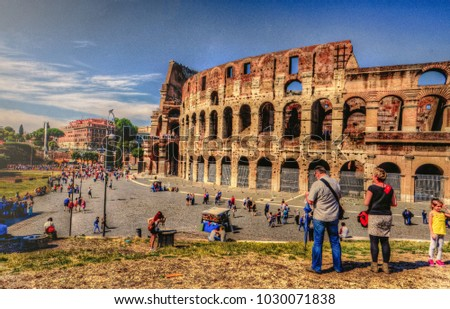 Rome, Italy - 2014 - The exterior of the Colosseum in rome full of tourists