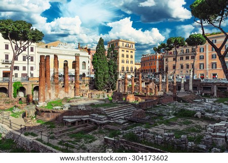 Rome, Italy. The ruins of ancient buildings in the center of city - stock photo