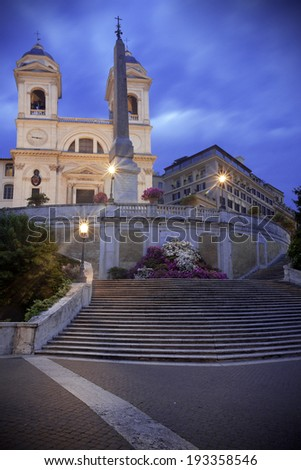 Rome, Italy: Trinita dei monti and Spanish Steps at dusk - stock photo