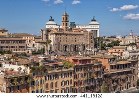 ROME, ITALY; View of city from the observation platform 5 in Rome, Italy. - stock photo
