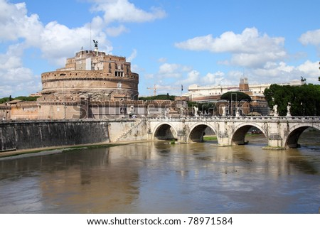 Rome, Italy. View of famous Castel Sant' Angelo and Sant' Angelo Bridge. River Tevere. - stock photo