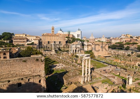Rome, Italy. View of the ruins of the Roman Forum from Palatine hill
