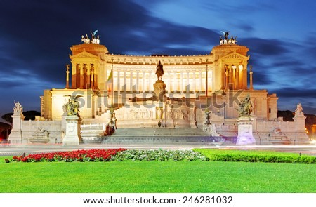 Rome, Italy. Vittoriano with gigantic equestrian statue of King Vittorio Emanuele II - stock photo