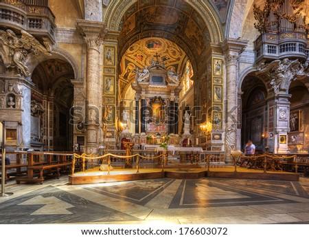 ROME - JULY 21:interior of  Santa Maria del Popolo church on July 21, 2013. Rome. Italy.  - stock photo