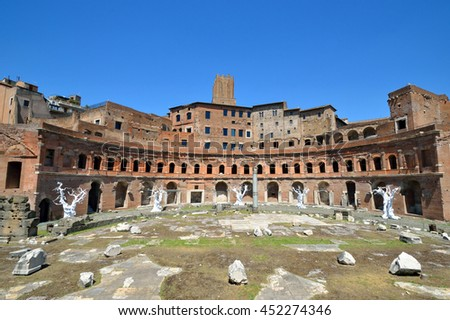 ROME - JUNE 18 2016: Trajan's Market is a large complex of ruins that was built from 100 to 110 AD and thought to be the world's oldest shopping mall.