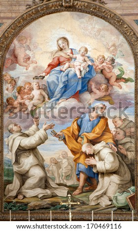 ROME, MARCH - 20: Holy Mary in heaven with the sanits. Paint from Santa Maria degli Angeli e dei Martiri. 2012, Italy. - stock photo