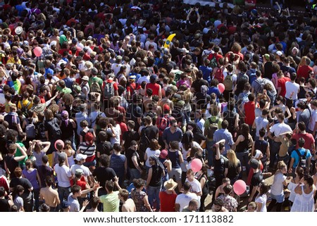 """ROME - MAY 1, 2013: Crowd at free """"Workers' Day Concert"""" in San Giovanni Square which takes place every year in Rome - Italy in May - stock photo"""