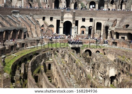 ROME - MAY 2: Elliptical Ampitheater Colosseum is the most visited attraction with over 5 million tourists yearly. The Colosseum is located in the centre of Rome. Italy, May 2, 2010 - stock photo