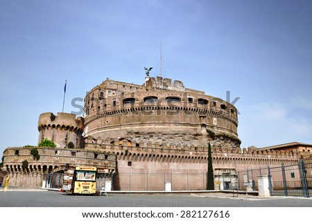 ROME - MAY 06: St. Angelo Castle in Rome on May 06. 2015 in Italy - The St. Angelo is decorated with ten angels holding instruments of the Passion of Bernini's project. - stock photo