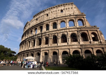 ROME-MAY 3: The Colosseum on May 3, 2010 in Rome, Italy. The Colosseum is an elliptical amphitheatre in the centre of the city of Rome, Italy.   - stock photo