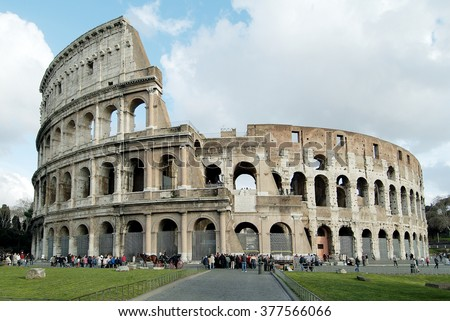 Rome Monument Colosseum or Flavian Amphitheatre - stock photo
