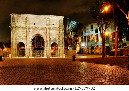 Rome - night view of monuments from ancient times in Italy,