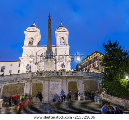 ROME - NOVEMBER 1, 2012: The steps of Piazza di Spagna are one of the most famous squares of Rome. It owes its name to the palace of Spain, Embassy of the Iberian been to the Holy See - stock photo