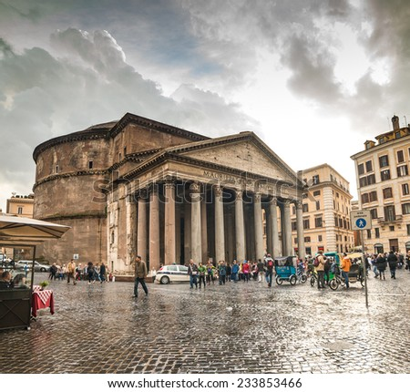 ROME - NOVEMBER 17: Tourists visit the Pantheon on November 17, 2014 in Rome, Italy. Pantheon is a famous monument of ancient Roman culture, the temple of all the gods, built in the 2nd century. - stock photo