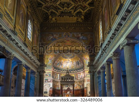 ROME - OCTOBER 12: Interior of Basilica di Santa Maria in Trastevere on October 12, 2013 in Rome. Italy - stock photo