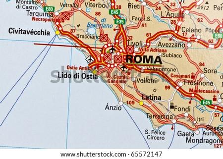 Rome on a map closeup - stock photo