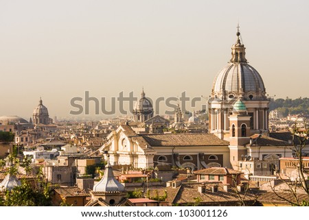 Rome overview with several domes, copy space - stock photo