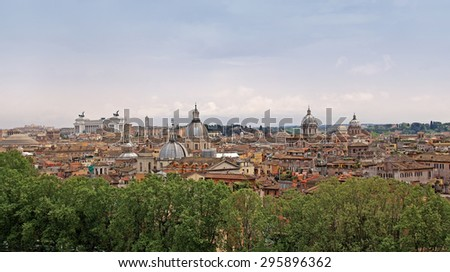 Rome panorama view with Vittoriano monument in the background - stock photo