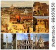 Rome, Panoramic view. Colosseum, Rome fountain, Traian column and churches, Santa Maria Maggiore. Italy. Collage - stock photo