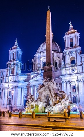 ROME, ROME, JUNE 1, 2014: Night view over piazza navona in rome - stock photo
