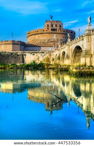 Rome, Saint Angel Castle and bridge. Italy.