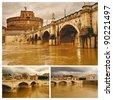 Rome. San Angelo bridge and other bridges over Tiber river. Collage. - stock photo