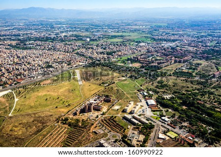 Rome seen from the sky - stock photo