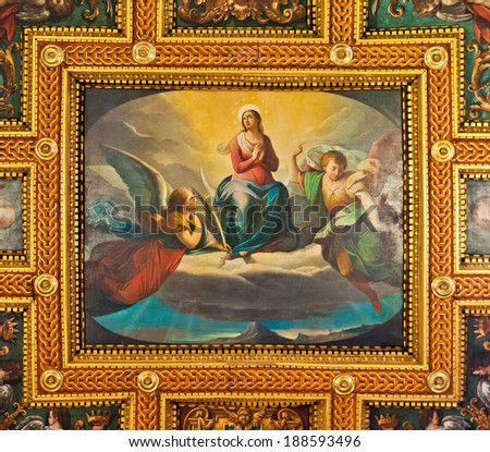 ROME - SEPTEMBER 22: ceiling fresco at the St. Bartholomew on the Island Basilica on September 22, 2013 in Rome, Italy. Located on Tiber Island it contains the relics of St. Bartholomew the Apostle. - stock photo
