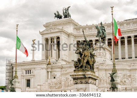 ROME, SEPTEMBER 2-2014: Piazza Venezia in Rome, Italy. Vittorio Emanuele Monument in Piazza Venezia is one of the most famous monuments in Rome. - stock photo