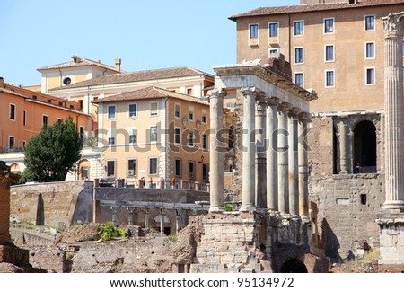 ROME - SEPTEMBER 17: The Roman Forum on September 17, 2011 in Rome.  Located between the Palatine and Capitoline Hills, the Forum today is a ruin of architectural fragments and archaeological works.