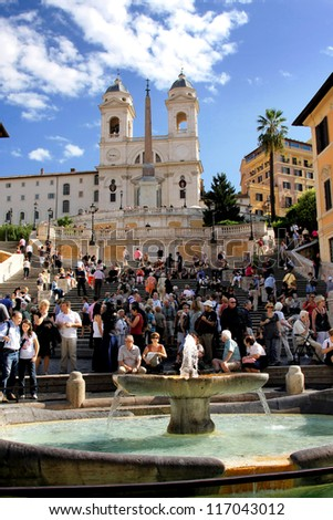ROME - SEPTEMBER 19: The Spanish Steps, seen from Piazza di Spagna on September 19, 2009, Rome.The Spanish Steps are the widest staircase in Europe. - stock photo