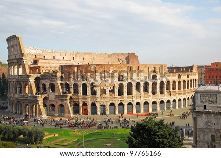 Rome, the Coliseum and the Arch of Constantine