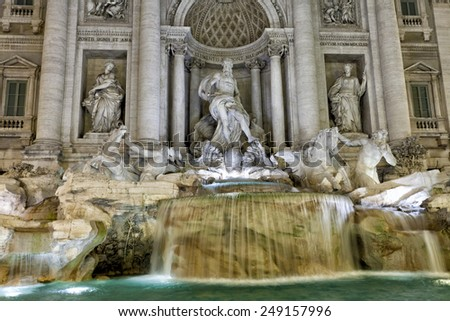 Rome, the fountain of Trevi in evening illumination