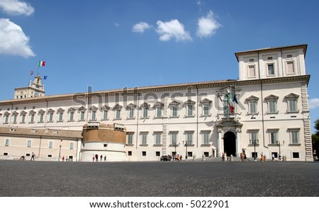 Rome, the Quirinal Palace, the  official residence of the Presidents of the Italian Republic - stock photo