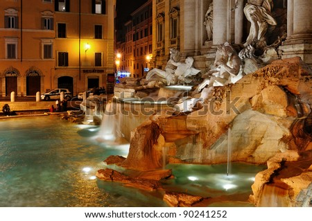 Rome. Trevi fountain in the night. Italy